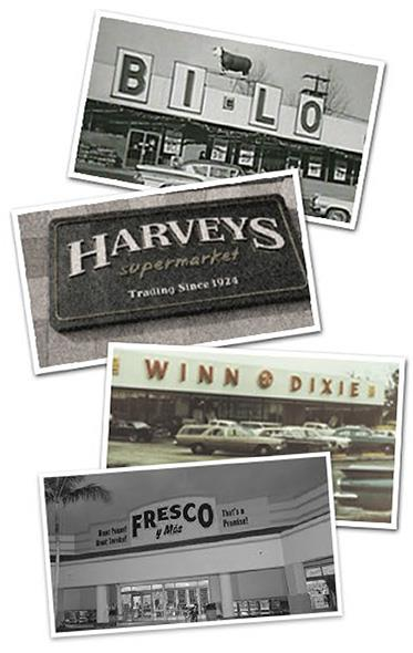 Collage of old Winn-Dixie, Harveys and Fresco y Más stores.